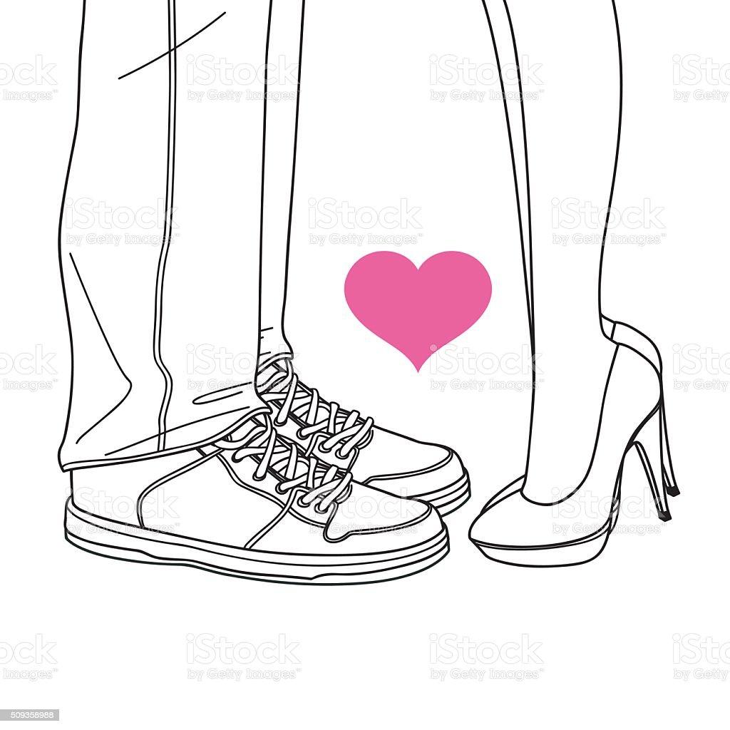 valentine lover, kissing lovers line illustrations vector art illustration
