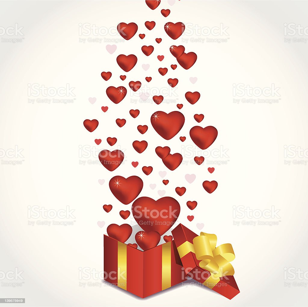 Valentine open box royalty-free stock vector art