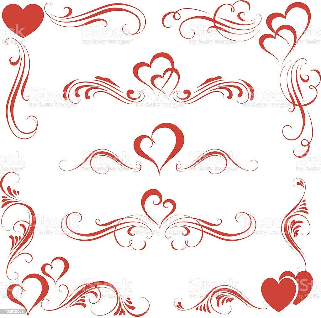 Valentine ornaments vector art illustration