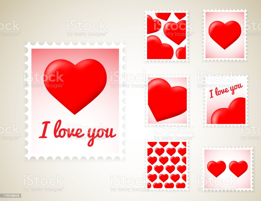 Valentine Stamps royalty-free stock vector art