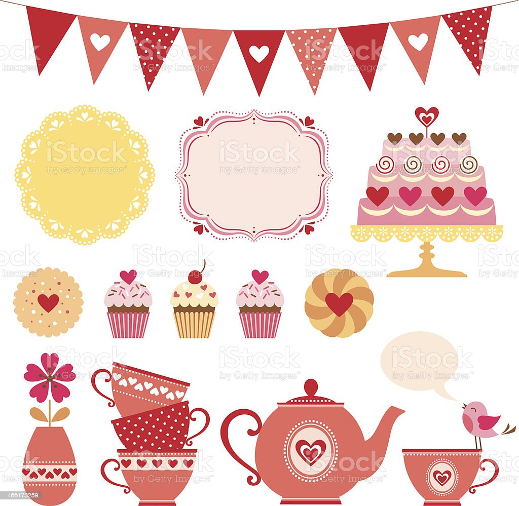 Valentine tea party vector art illustration