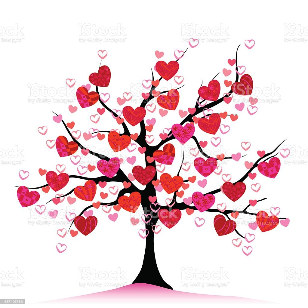 Valentine tree, love, leaf from hearts vector art illustration