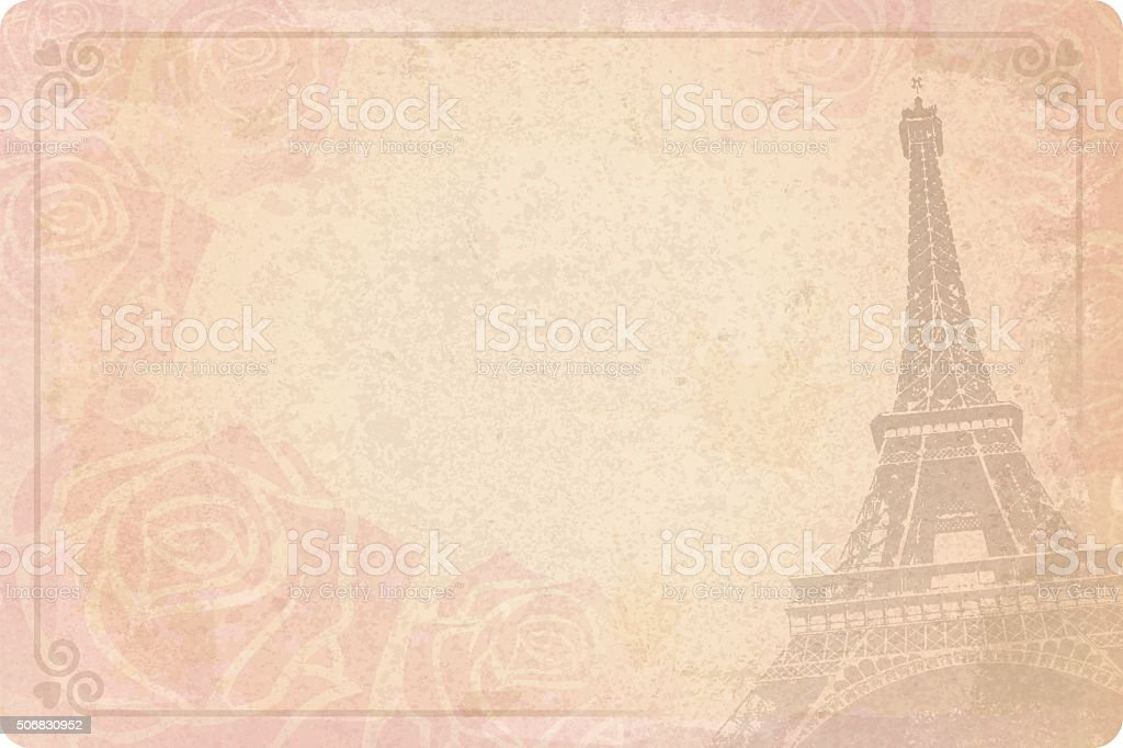 Valentine vintage love romance Paris card vector art illustration