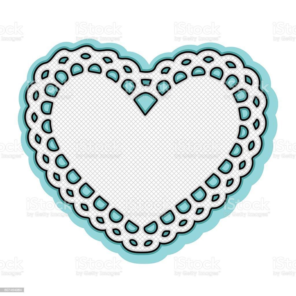 Valentine white heart doily frame vector art illustration