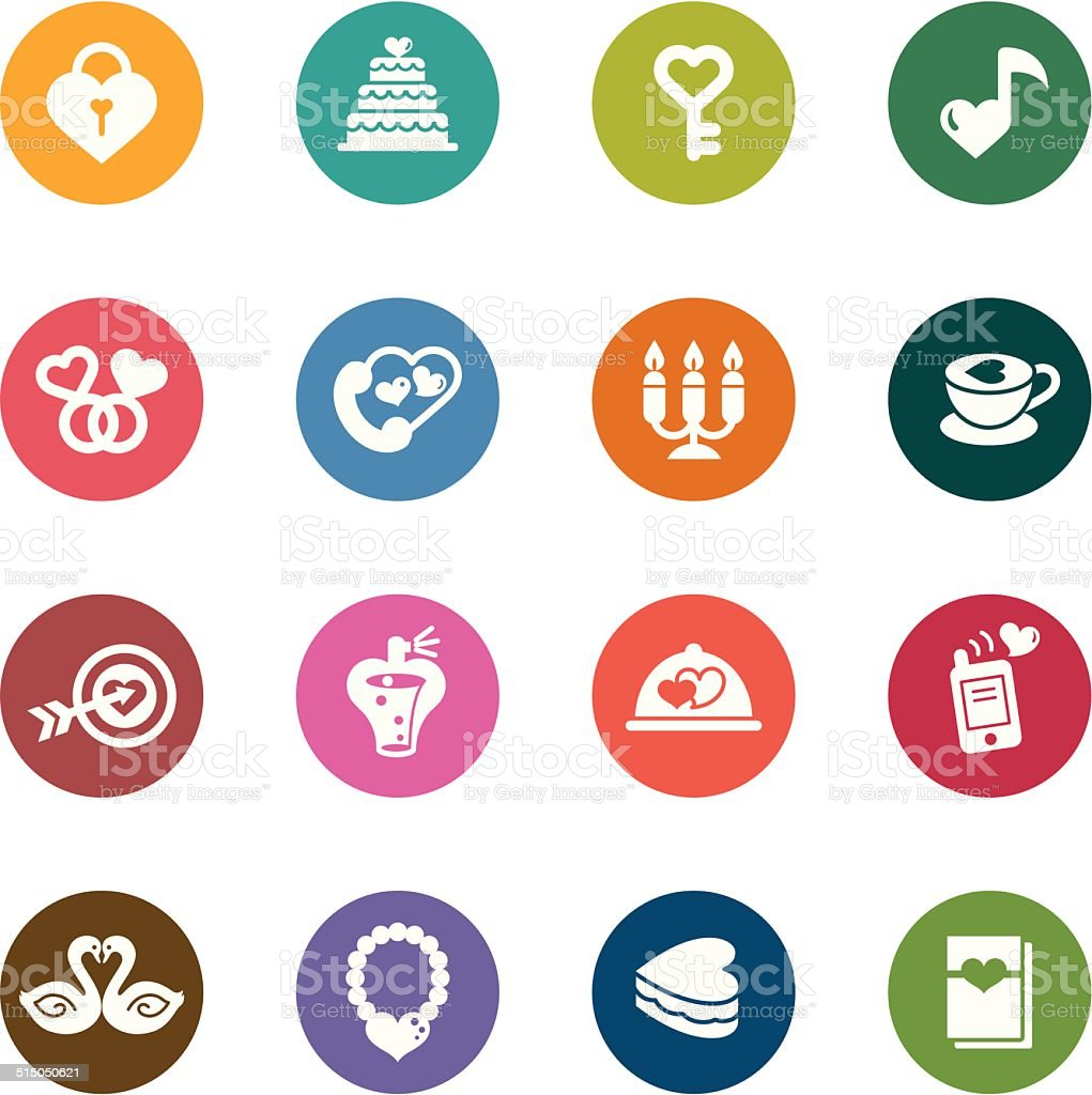 Valentines and Love Color Icons vector art illustration