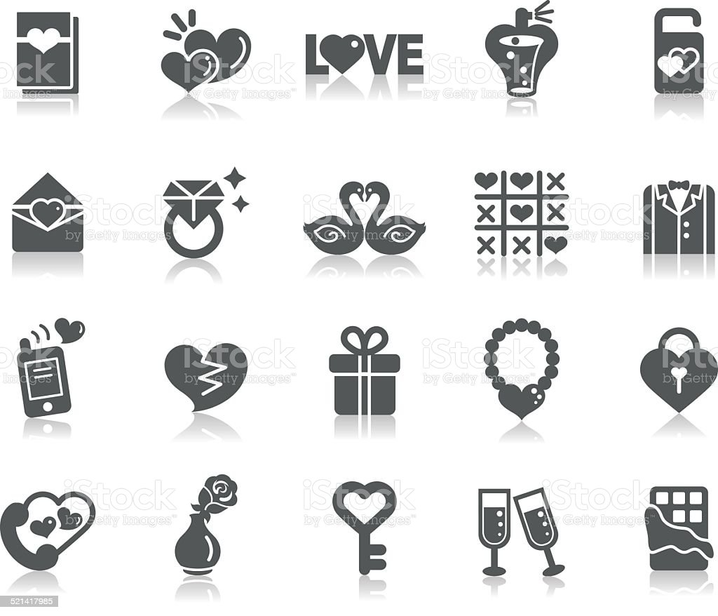 Valentines and Love Icons vector art illustration