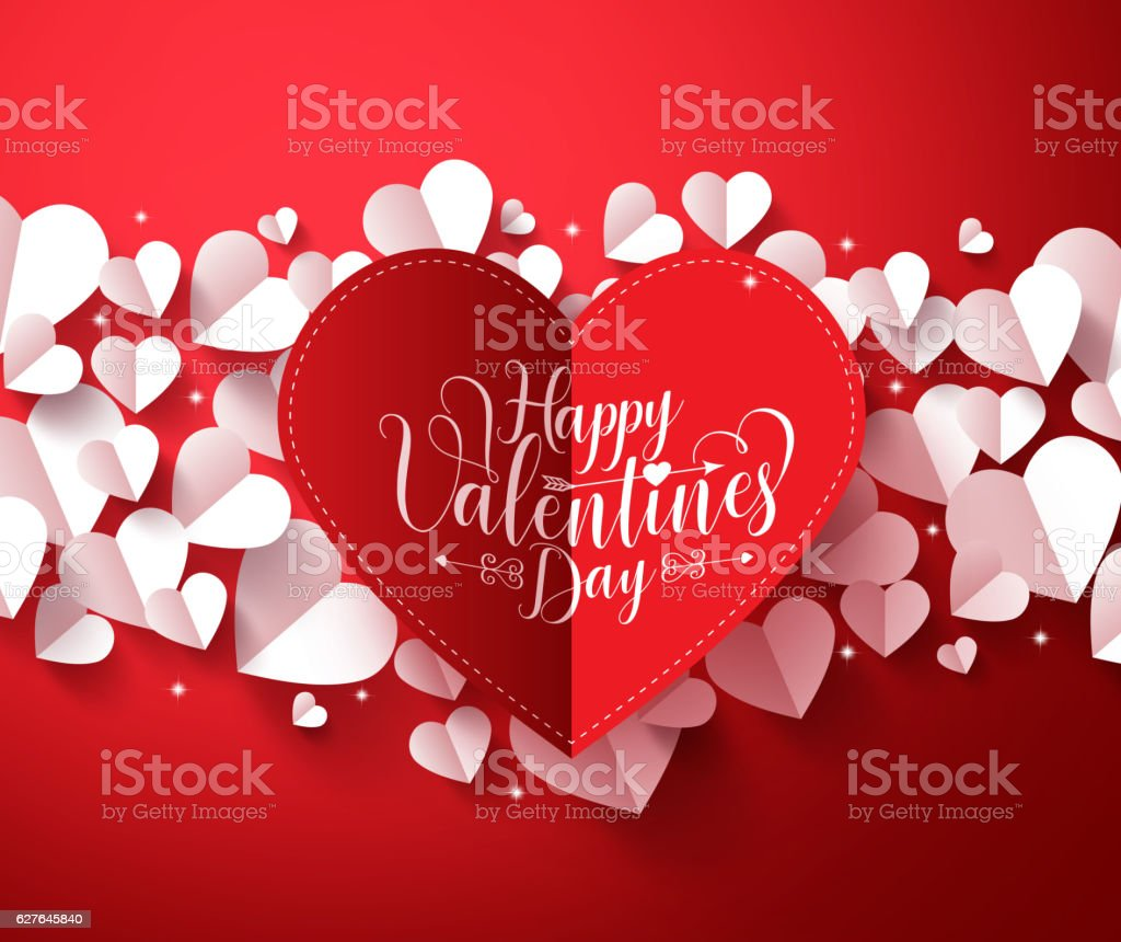 Valentines Background concept with happy valentines day greetings card vector art illustration