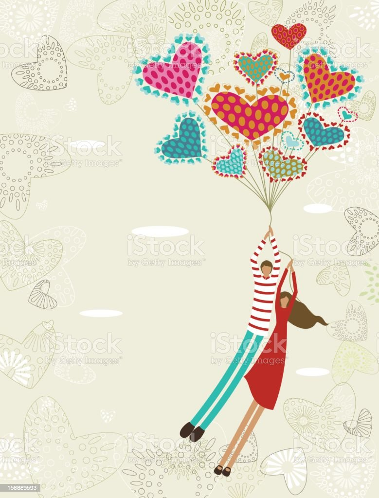 Valentine's background with flying lovers vector art illustration