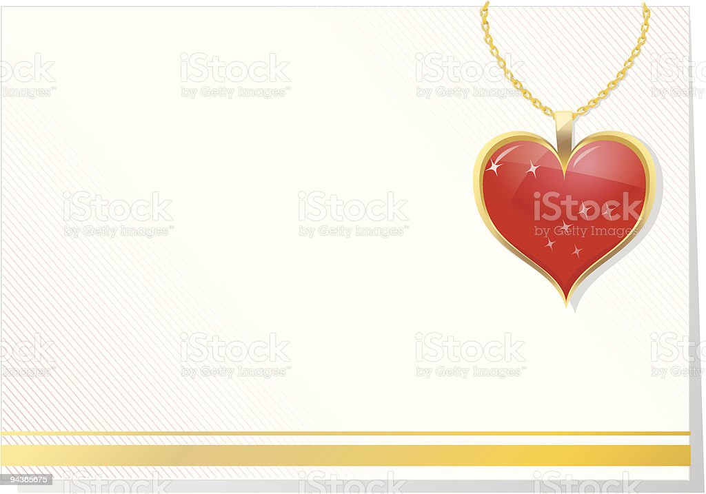 valentine's blank card with jewelry vector art illustration