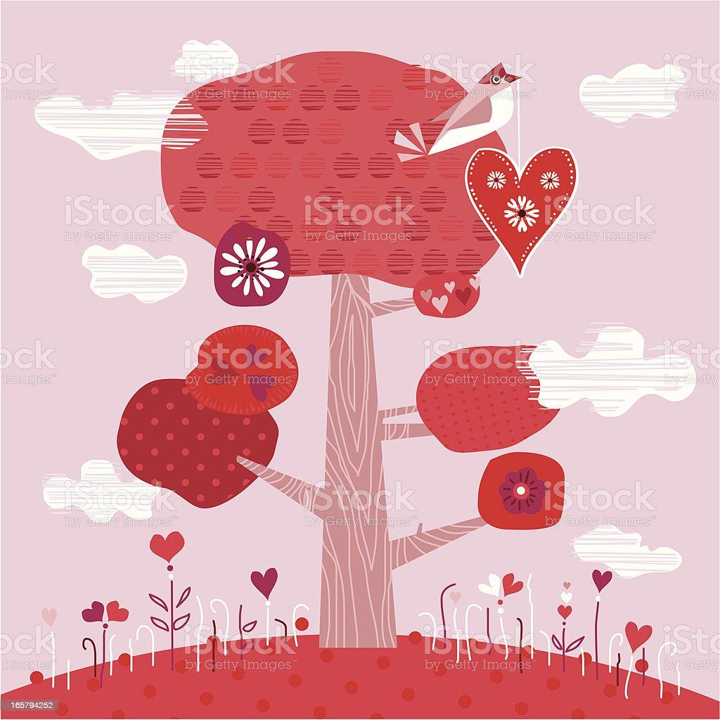Valentine's Card (Cute Bird with Heart) royalty-free stock vector art