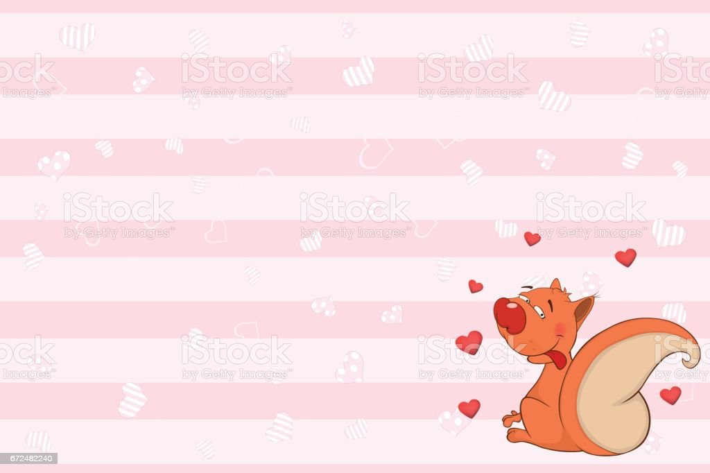 Valentines card with a Cute Squirrel illustration vector art illustration