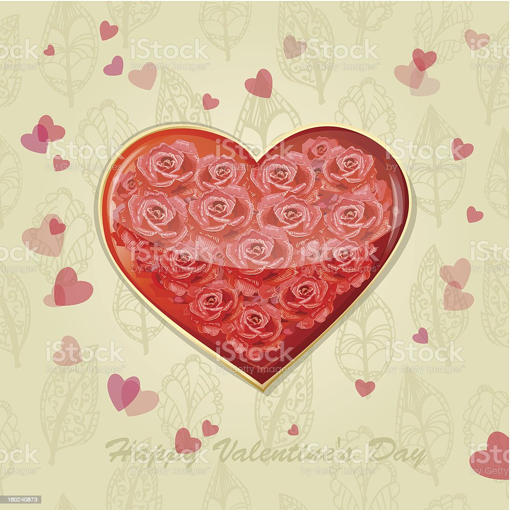 Valentine's card with a heart of roses royalty-free stock vector art