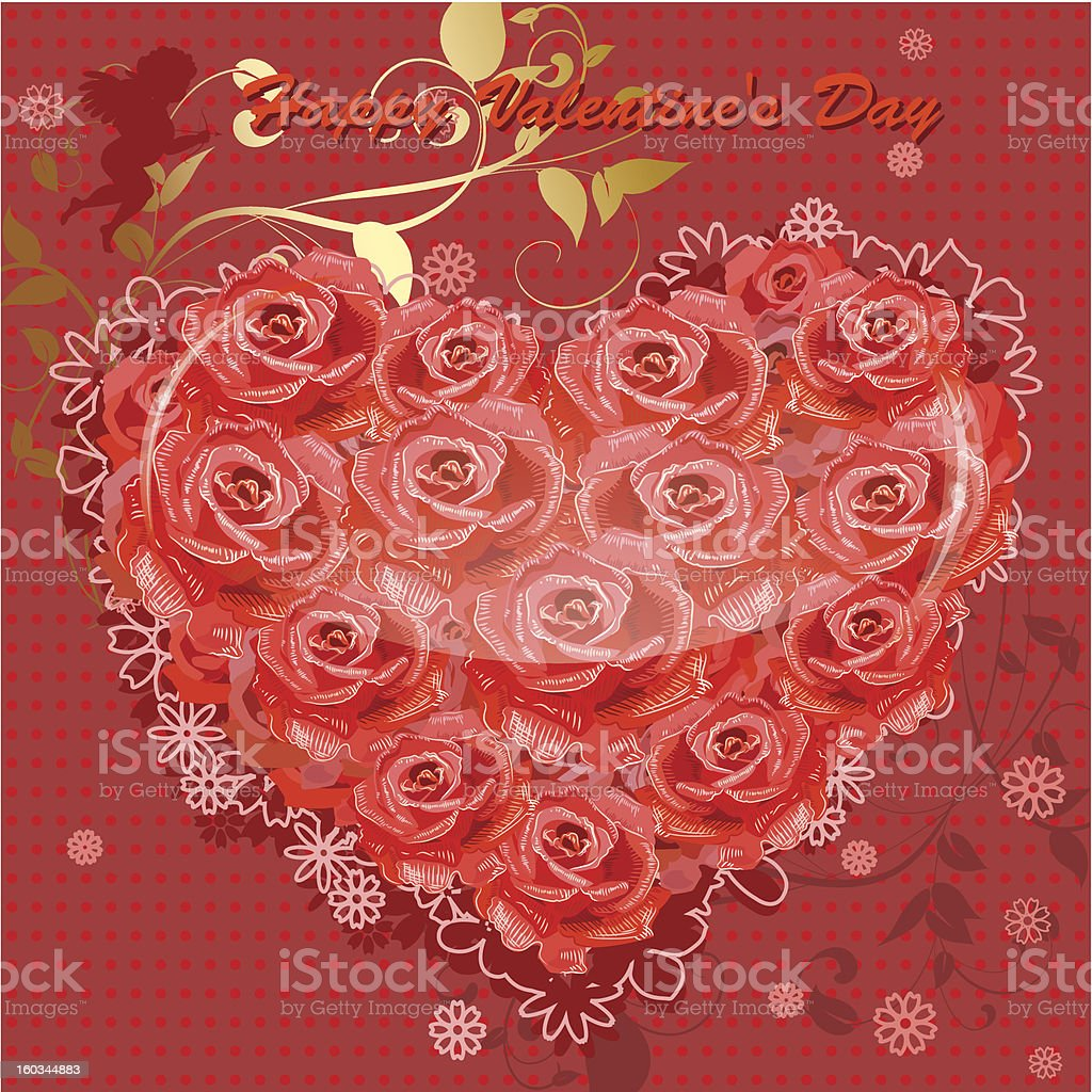 Valentine's card with a heart of roses royalty-free stock photo