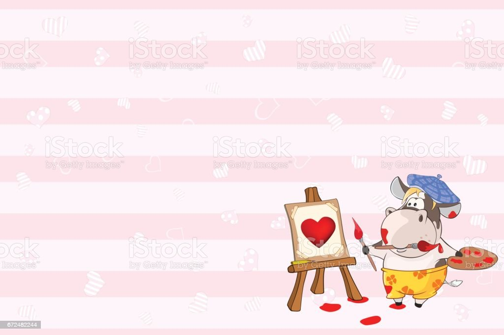 Valentines card with Cute Cow Painter illustration vector art illustration