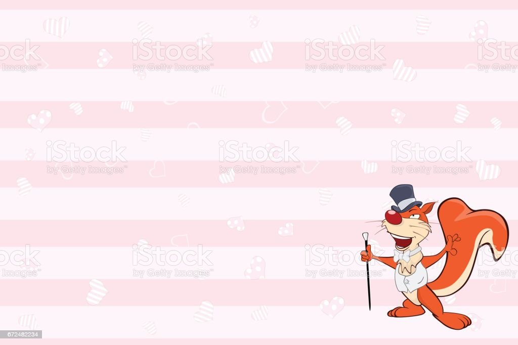 Valentines card with Cute Squirrel illustration vector art illustration