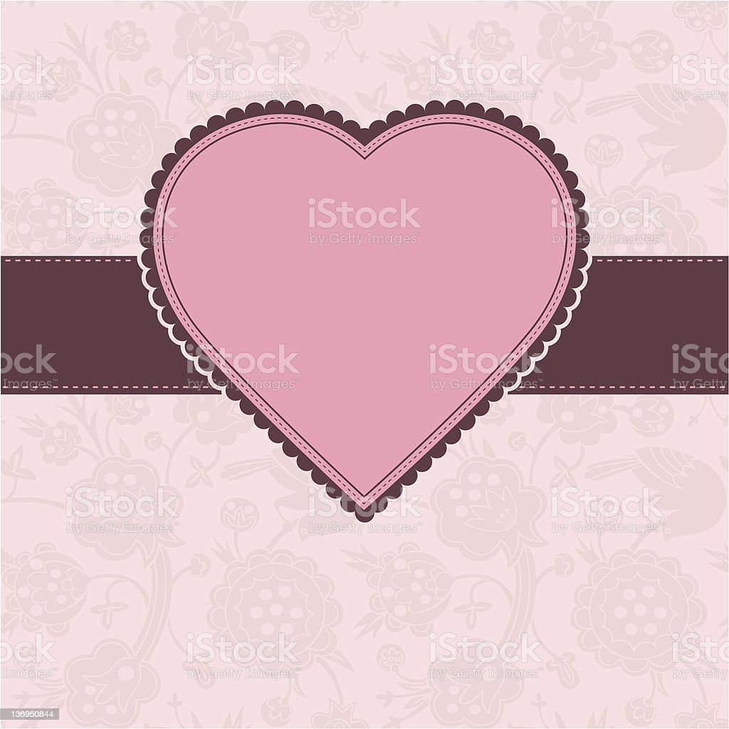 Valentine`s card with pink heart royalty-free stock vector art