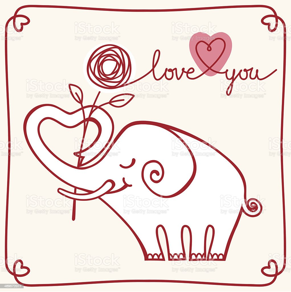 Valentines Card With White Elephant stock vector art 469572077 – Elephant Valentines Card