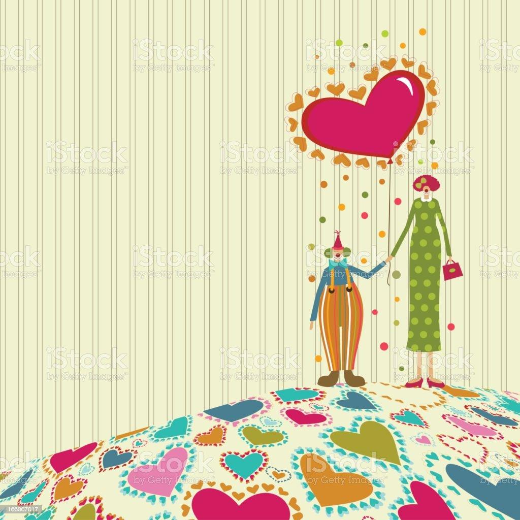 Valentine's circus clown couple royalty-free stock vector art
