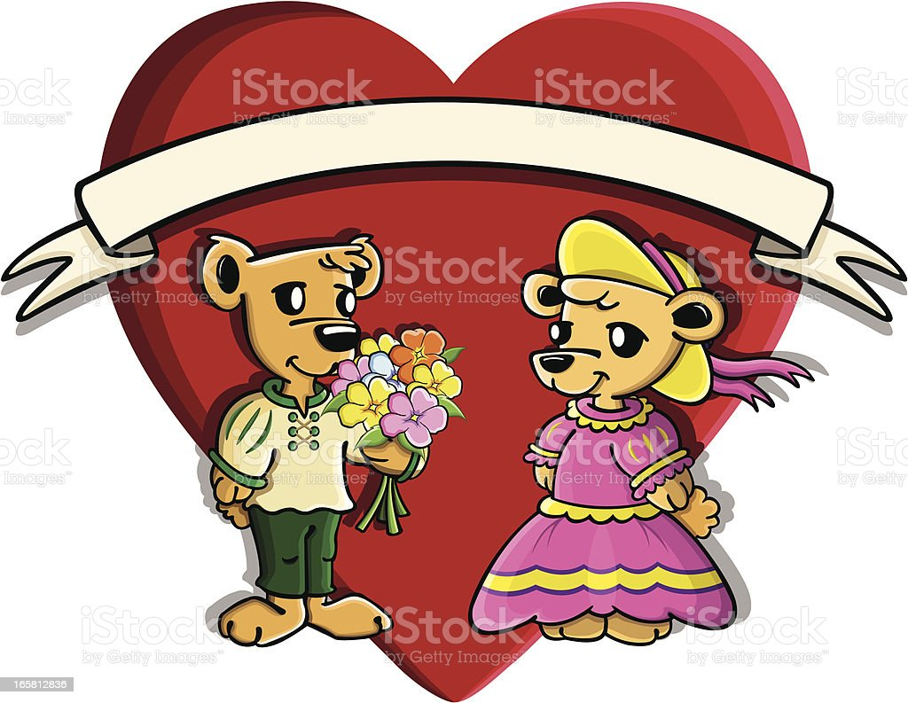 Valentine's cutie bears vector art illustration