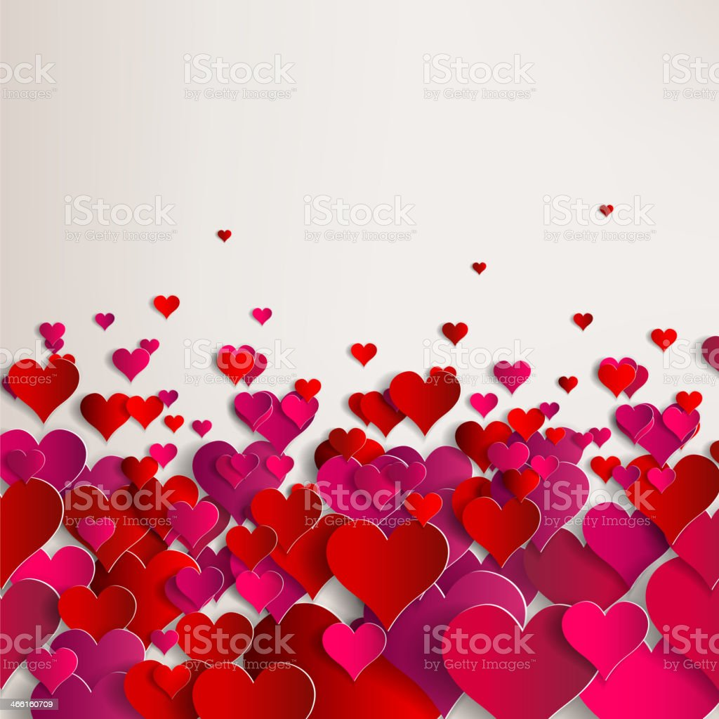 Valentines day. Abstract paper hearts. Love vector art illustration