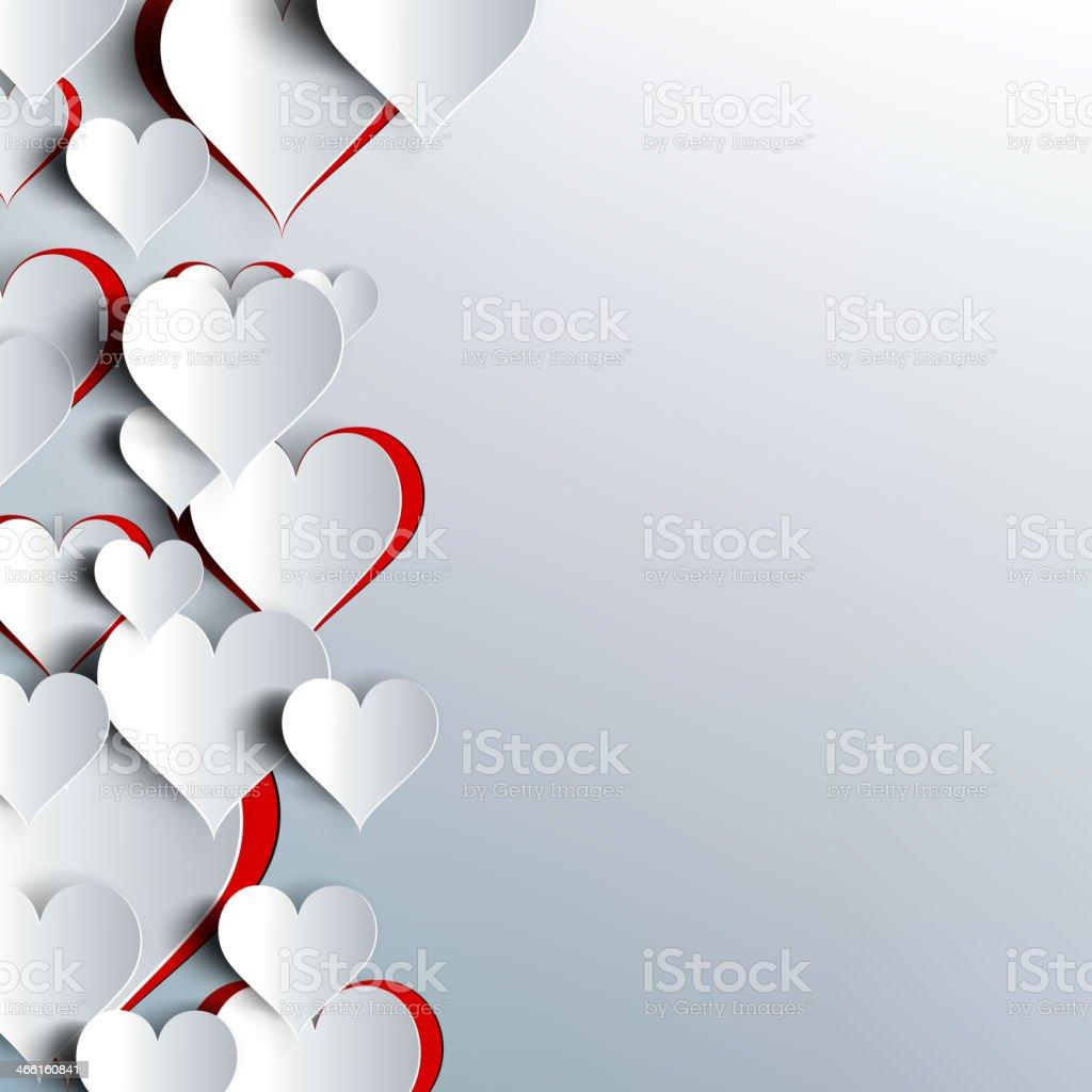 Valentines day. Abstract paper hearts. Love royalty-free stock vector art