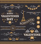 Valentine's Day and wedding design elements.