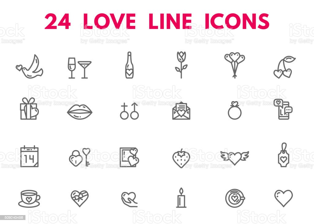 Valentines Day and wedding icons vector art illustration