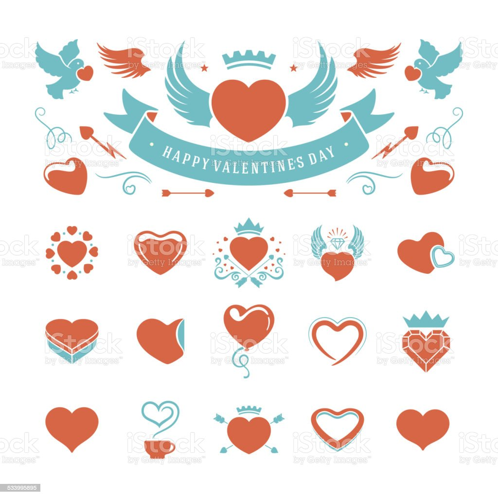 Valentines Day and Wedding Vintage Objects Vector ymbols Set vector art illustration