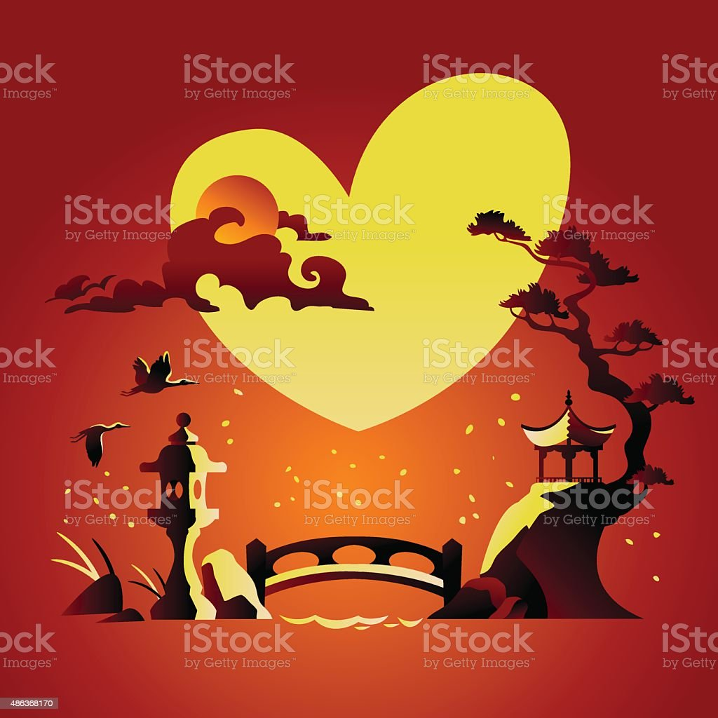 Valentines Day Background with Abstract Chines Background vector art illustration