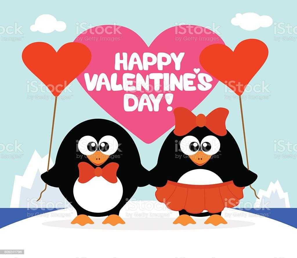 Valentine's day  background with penguins vector art illustration