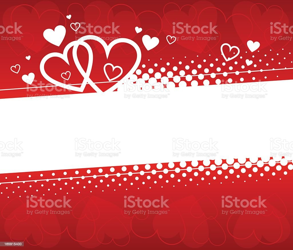 Valentine's day background with red and white hearts vector art illustration