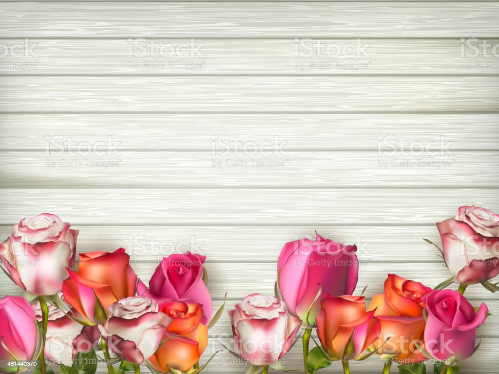 Valentines day background with roses. EPS 10 vector art illustration