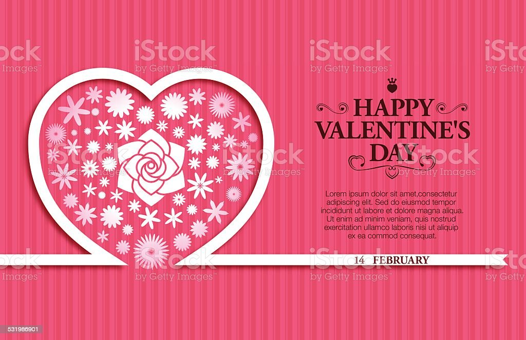 Valentine's Day background[Flowers and Ribbon] vector art illustration