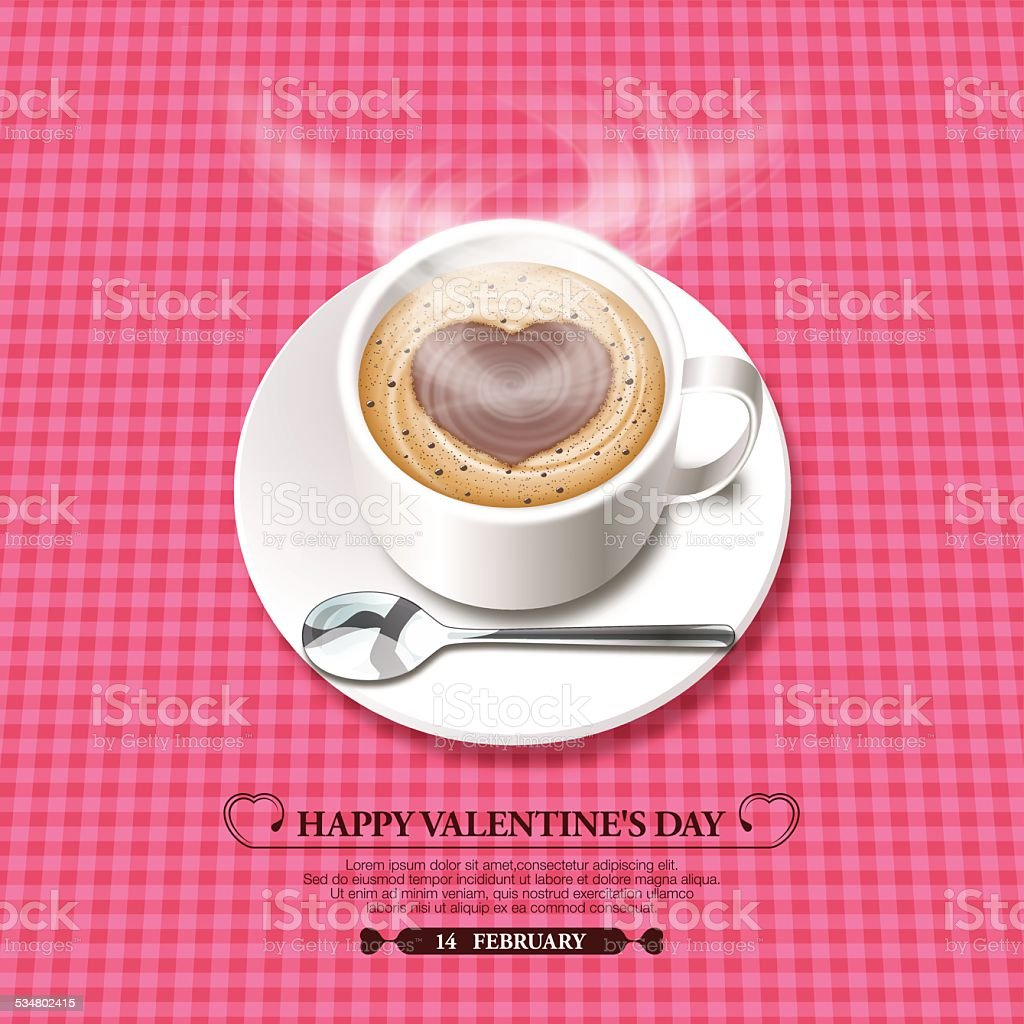 Valentine's Day background[Foam heart on the hot chocolate] vector art illustration