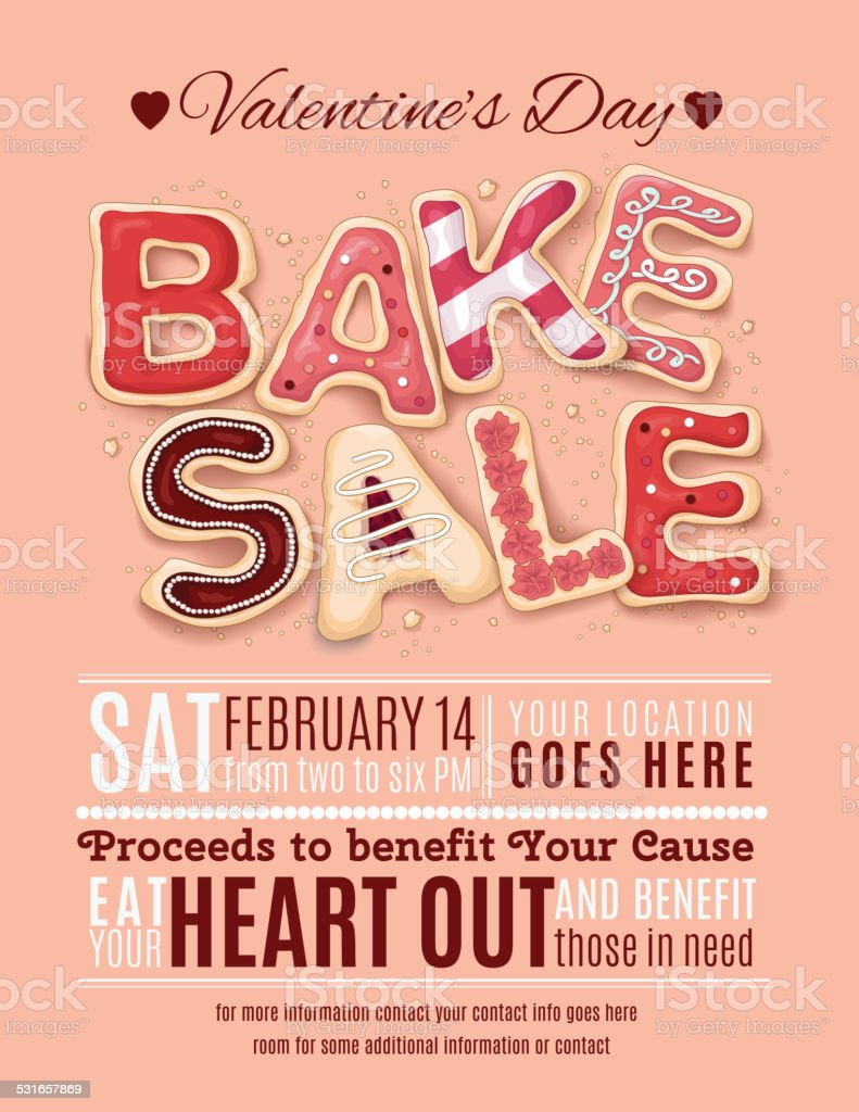 Valentines Day Bake Sale Flyer Template vector art illustration