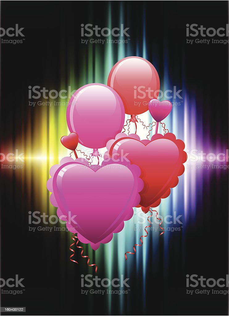 Valentine's day balloon hearts on Spectrum Background royalty-free stock vector art