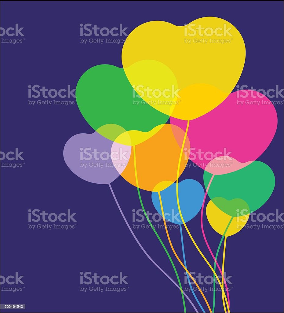 Valentines day balloons vector art illustration