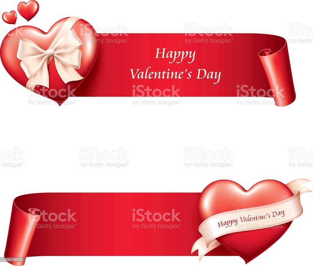 Valentine's day banner - heart with curved paper vector art illustration