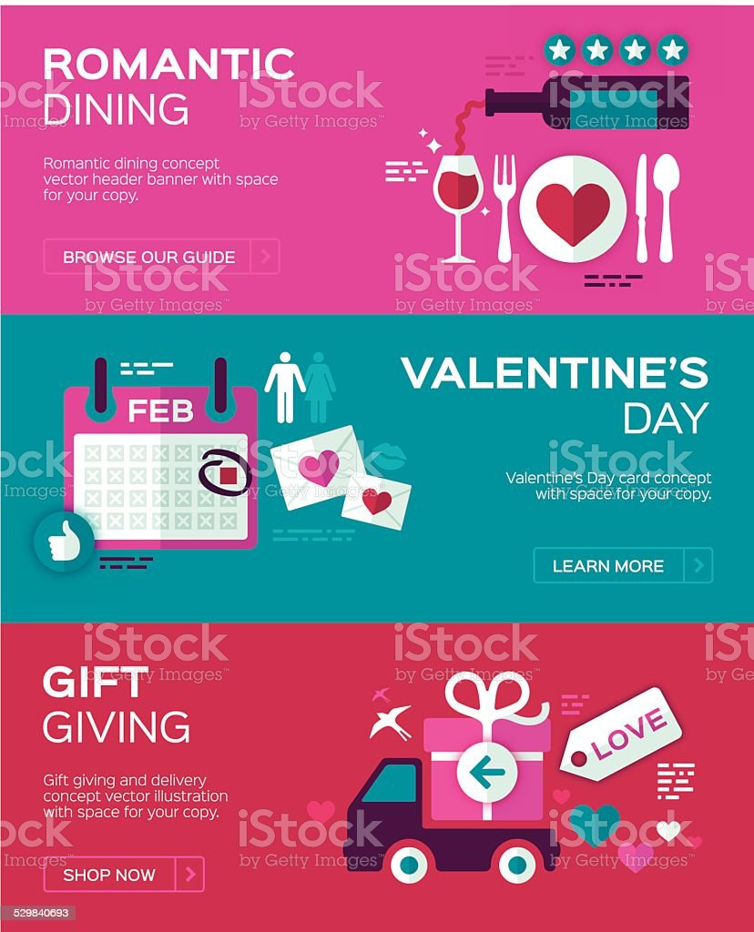 Valentine's Day Banners vector art illustration