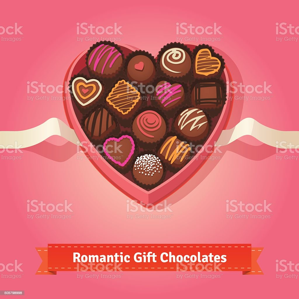 Valentine's day, birthday chocolates in box vector art illustration