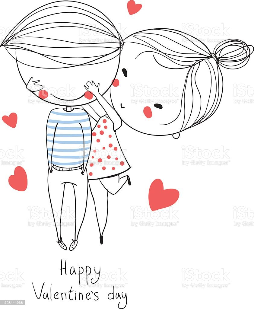 Valentine's Day. Boy and girl kissing. Love cards. royalty-free stock vector art