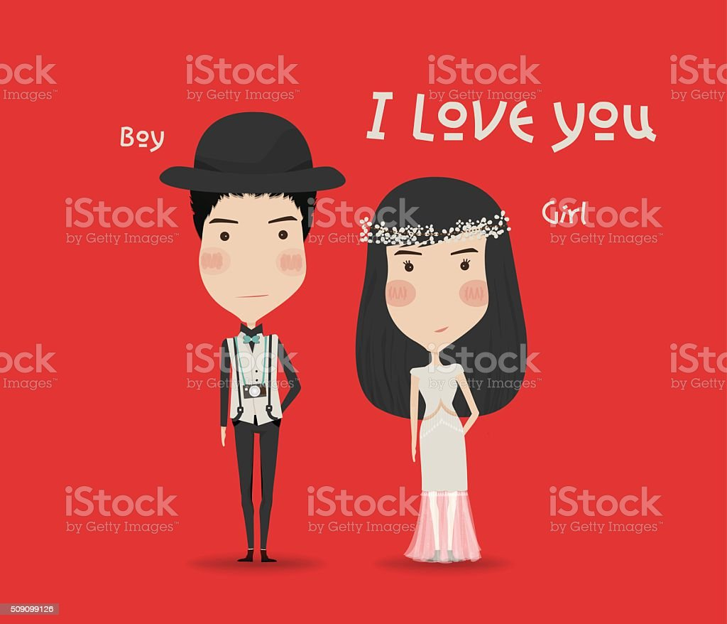 Valentines Day Boy And Girl Love Cards Wedding Card stock vector – Boy Valentines Cards