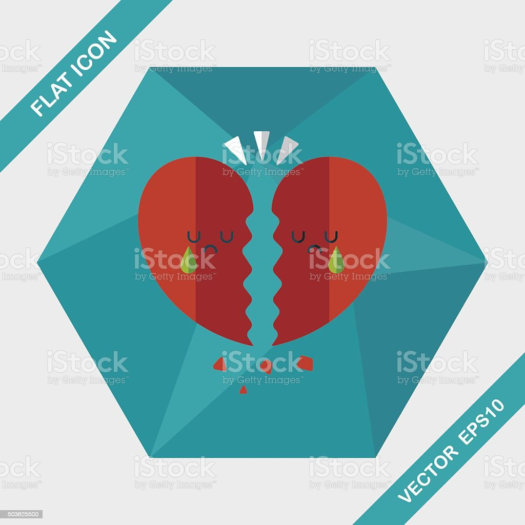 Valentine\'s Day broken heart flat icon with long shadow,eps10