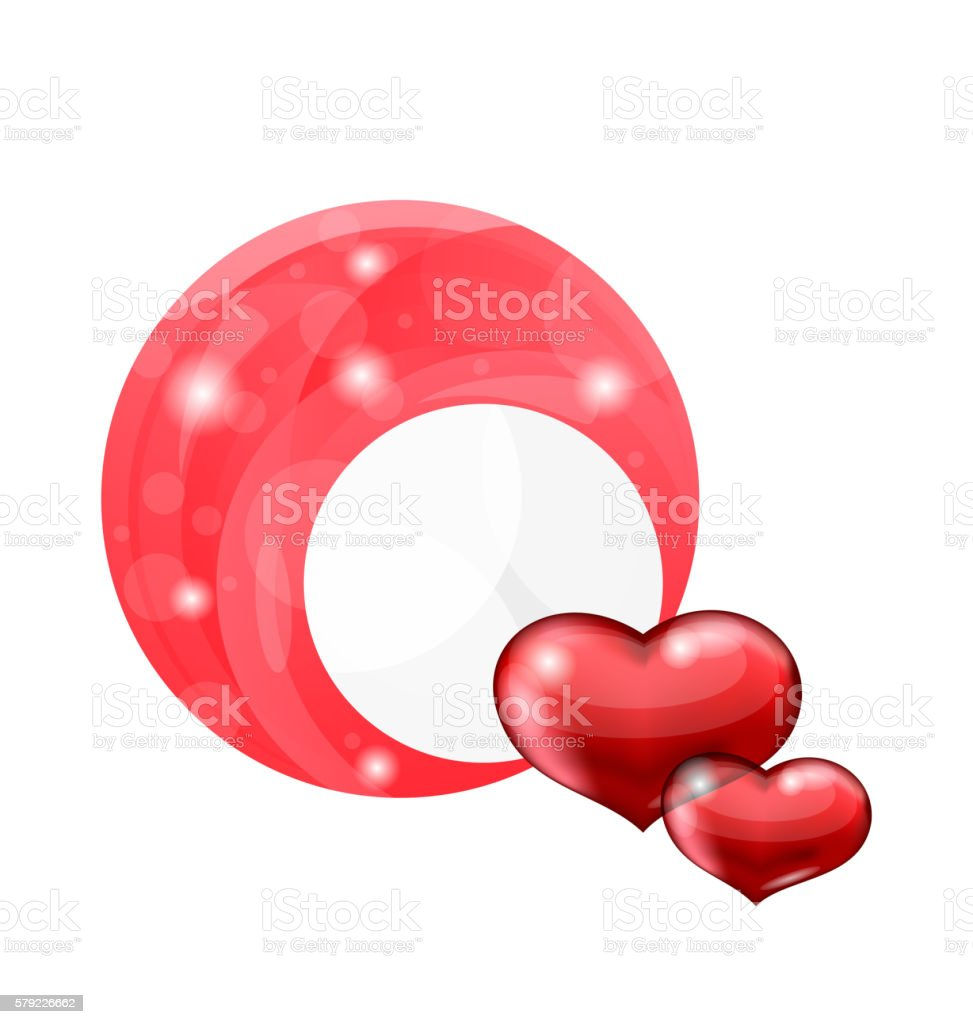 Valentine's day bubble with red hearts vector art illustration