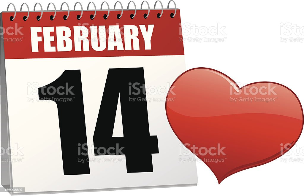 Valentine's Day Calendar royalty-free stock vector art
