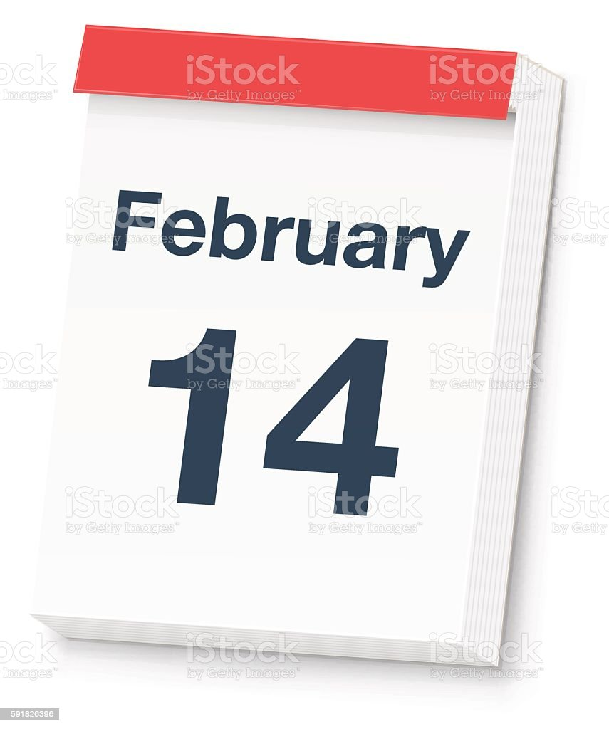 Valentine's Day Calendar vector art illustration