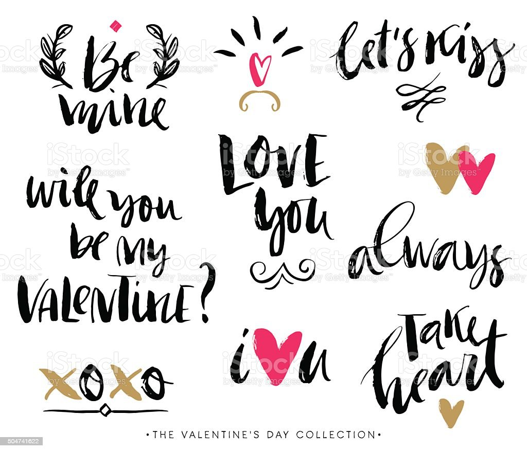 Valentines day calligraphic phrases. Hand drawn design elements. vector art illustration