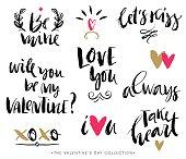 Valentines day calligraphic phrases. Hand drawn design elements.