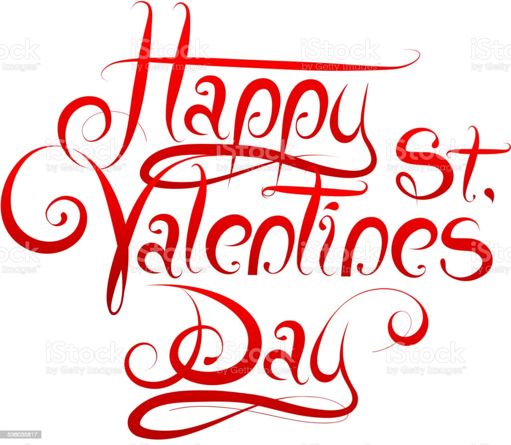 Valentines Day calligraphy vector art illustration