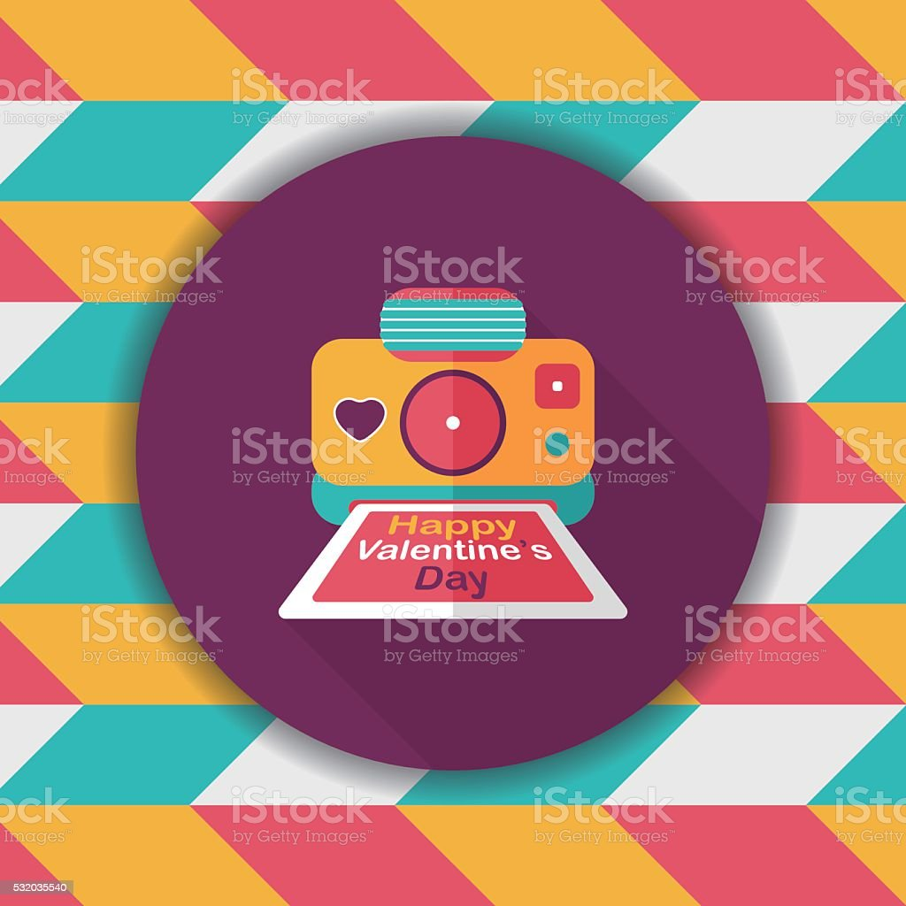 Valentine's Day camera photo flat icon with long shadow,eps10 vector art illustration